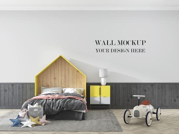 家具と車のおもちゃの子供部屋の壁のモックアップ Premium Psd