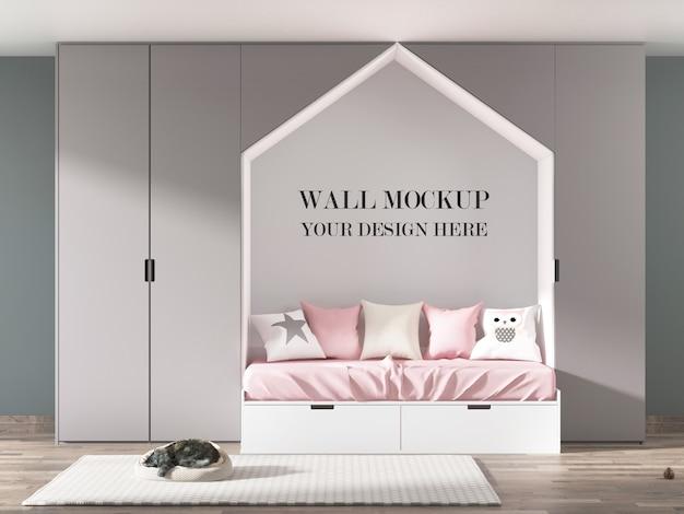 Детская комната макет стены с мебелью и спящего кота Premium Psd