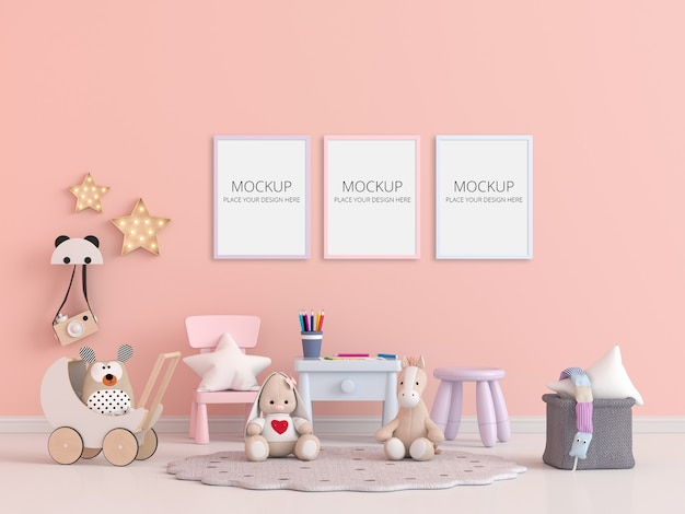 Child room with frame mockup Premium Psd