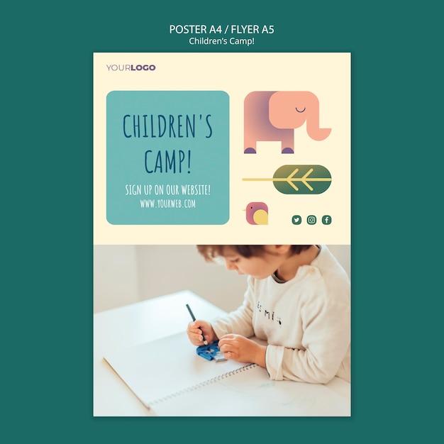 어린이 캠프 개념 전단지 템플릿 무료 PSD 파일