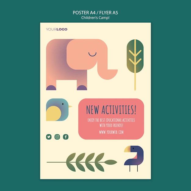 어린이 캠프 컨셉 포스터 템플릿 무료 PSD 파일