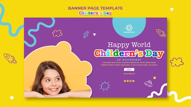 Children's day banner template Free Psd