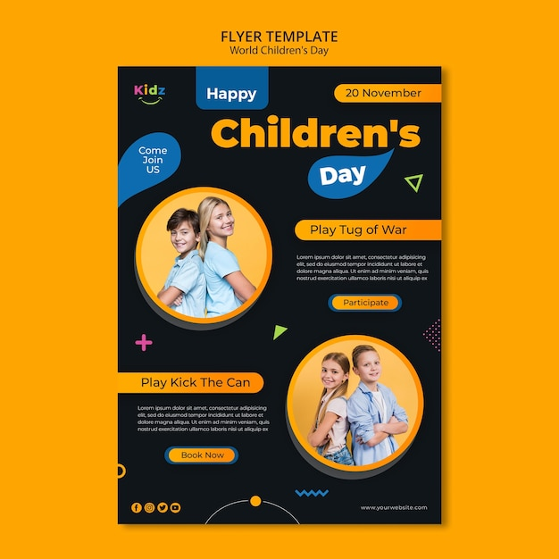 Детский день флаер шаблон Бесплатные Psd