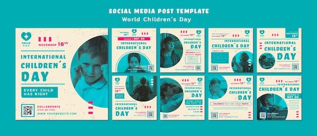 Шаблон постов в instagram на детский день Бесплатные Psd