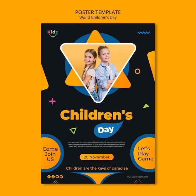 Modello di poster per la giornata dei bambini Psd Gratuite