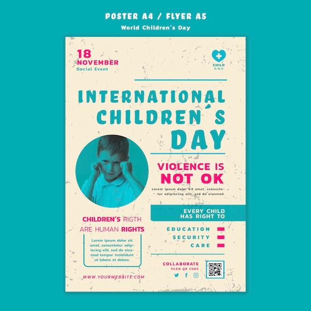 Детский день плакат шаблон Бесплатные Psd