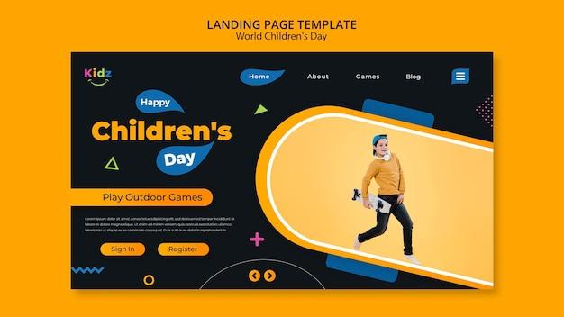 Pagina di destinazione del modello del giorno dei bambini Psd Gratuite