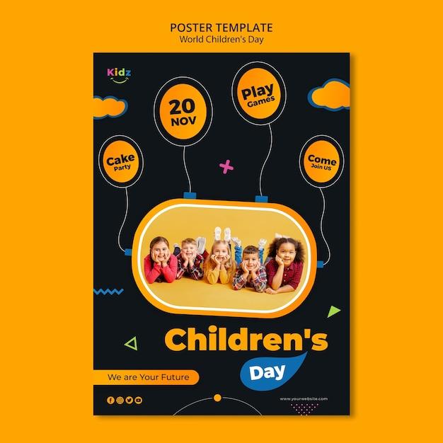 Детский день шаблон плаката Бесплатные Psd