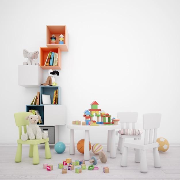Детская игровая комната с ящиками для хранения вещей, столом и множеством игрушек Бесплатные Psd