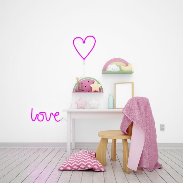 Camera dei bambini decorata con oggetti carini e la parola