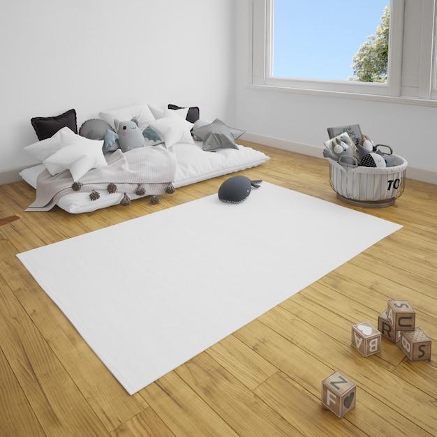 나무 바닥에 소파와 카펫 어린이 방 무료 PSD 파일
