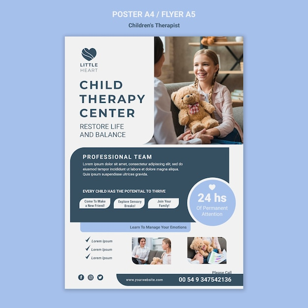 Children's therapist concept poster template Free Psd