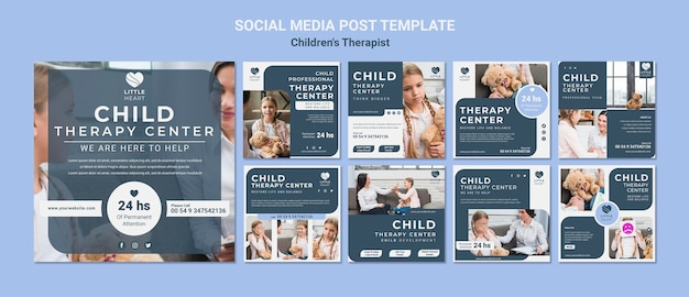 어린이 치료사 개념 소셜 미디어 게시물 템플릿 프리미엄 PSD 파일