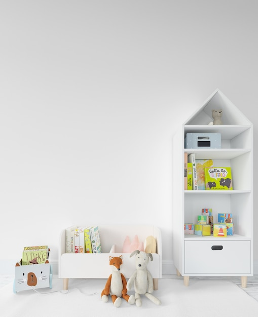 Childroom with shelves and toys Free Psd