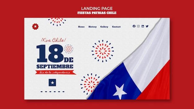 Design della pagina di destinazione della giornata internazionale del cile Psd Gratuite