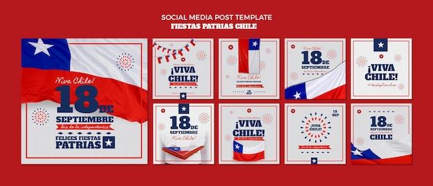 Post sui social media della giornata internazionale del cile Psd Gratuite