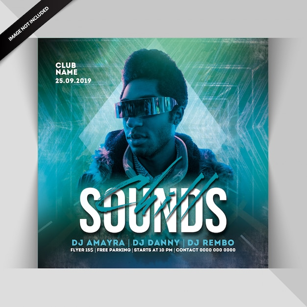 Chill sounds party flyer Premium Psd