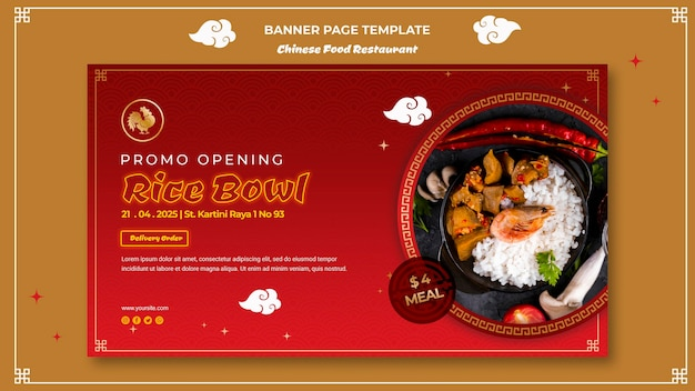 Chinese food banner template Premium Psd