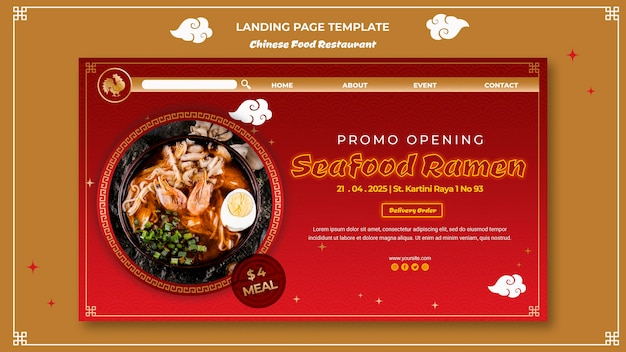 Chinese food landing page template Free Psd