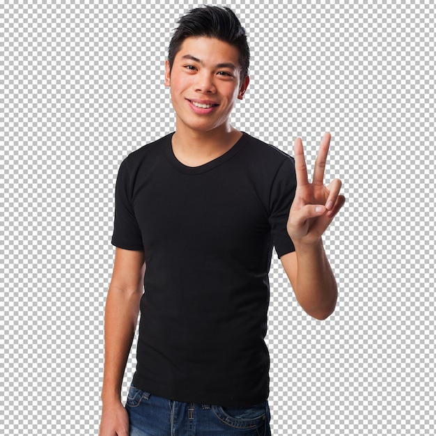 Chinese man doing a victory sign Premium Psd