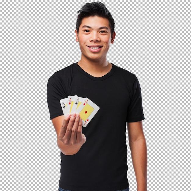 Китаец играя покер Premium Psd