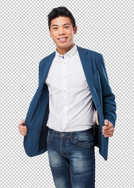 Chinese man smiling Premium Psd