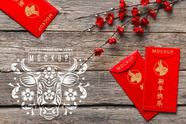 Chinese new year 2021 red envelopes mock-up Free Psd
