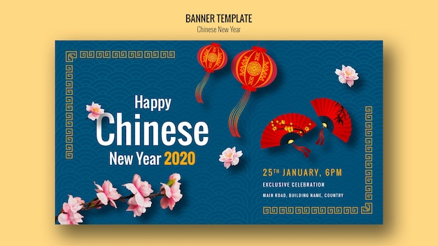 Chinese new year banner with beautiful fans Free Psd