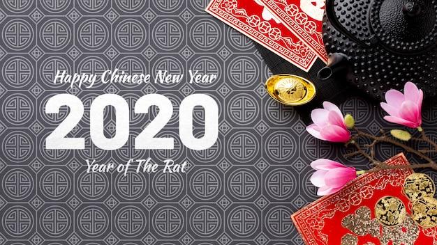 Китайский новый год концепция с макетом Бесплатные Psd