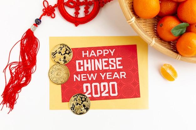 Китайский новый год концепция с апельсином Бесплатные Psd