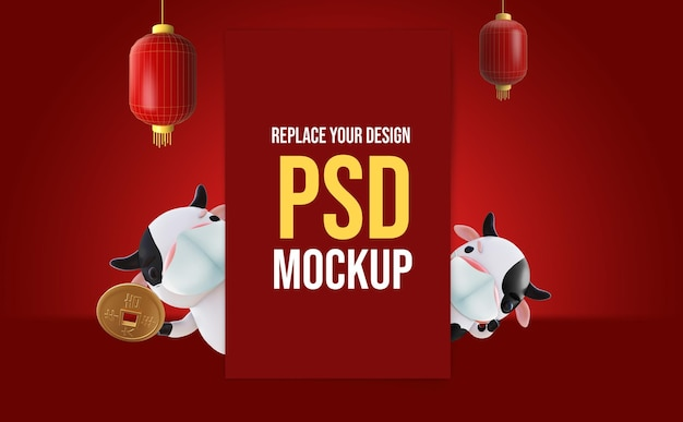 Chinese new year mockup 3d rendering design Premium Psd