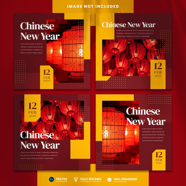 Chinese new year social media template Premium Psd