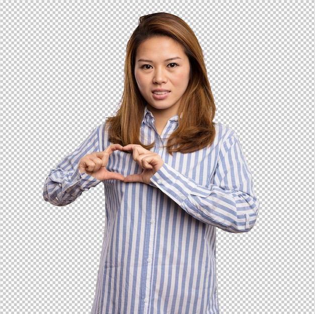 Chinese woman doing heart symbol with her fingers Premium Psd