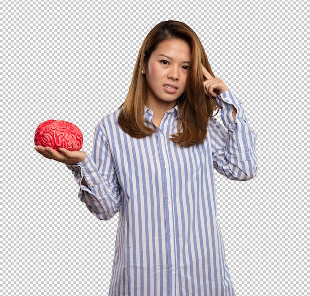 Chinese woman holding a brain Premium Psd