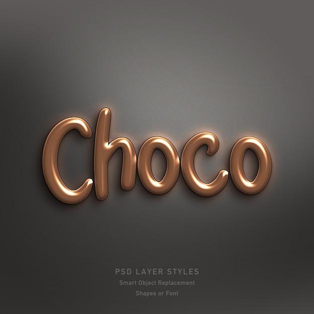 Choco text style effect psd Premium Psd