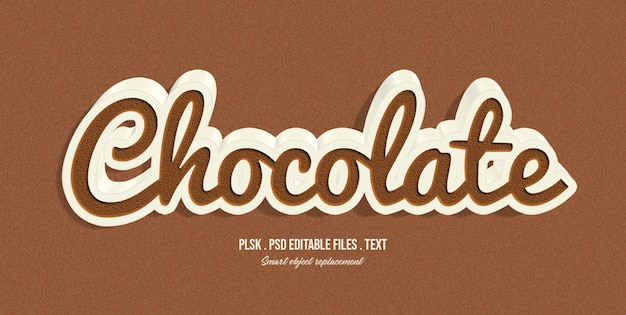 Chocolate 3d text style effect Premium Psd