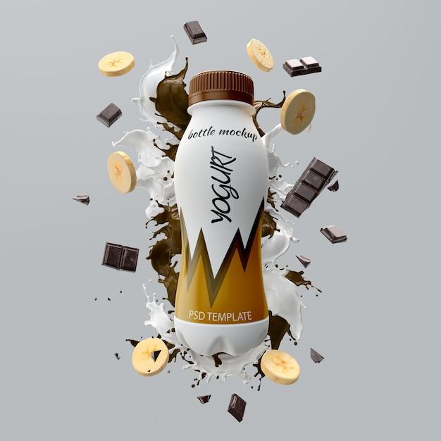 Chocolate banana yogurt mockup Premium Psd