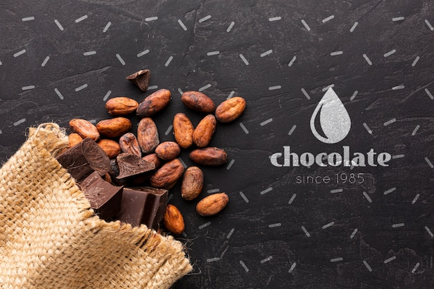 Chocolate bar with black background mock-up Free Psd