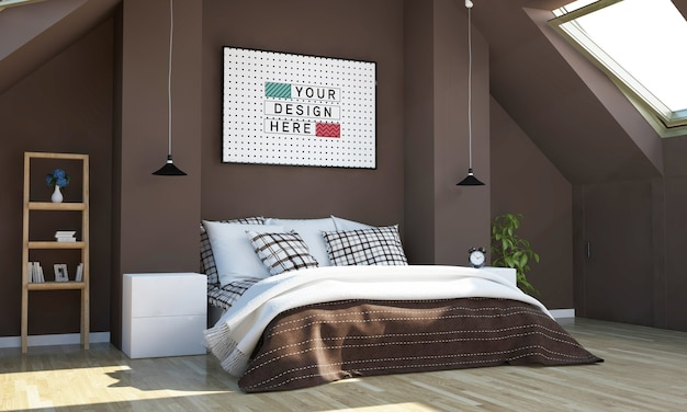 Chocolate color bedroom with horizontal poster mockup Premium Psd