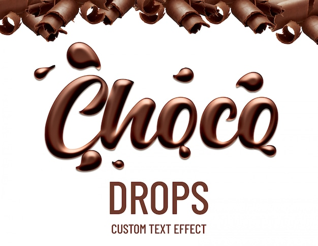 Chocolate drops text effect Premium Psd