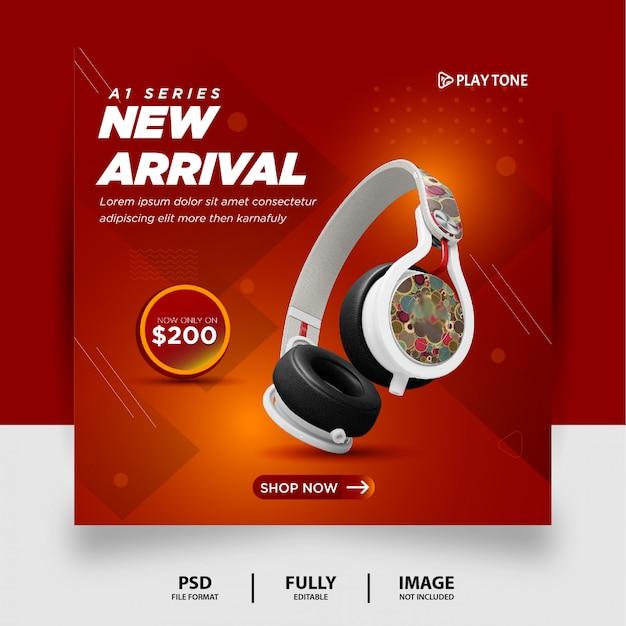 Chocolate gradient color headphone brand product social media instagram banner Premium Psd