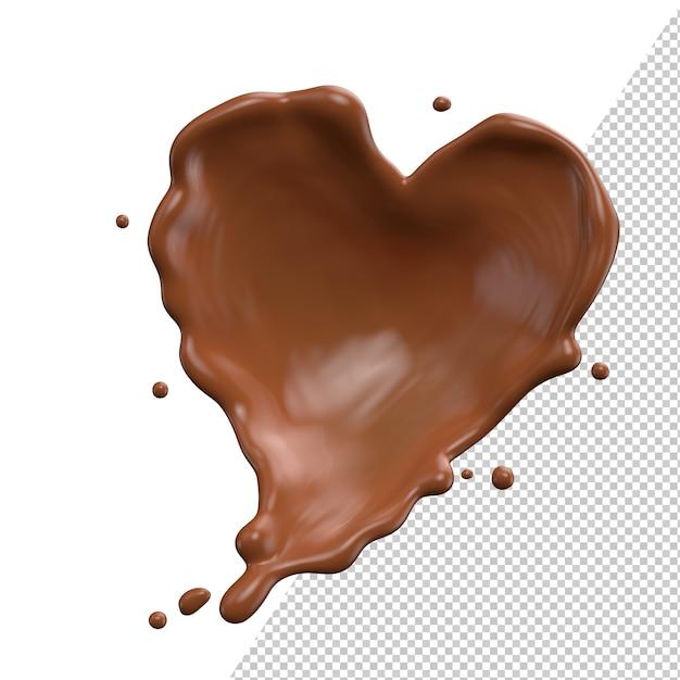 Шоколадное сердце, молоко, валентинка, всплеск, 3d реалистичная визуализация Premium Psd