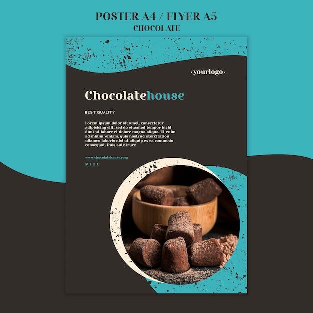 チョコレートハウスポスターテンプレート 無料 Psd