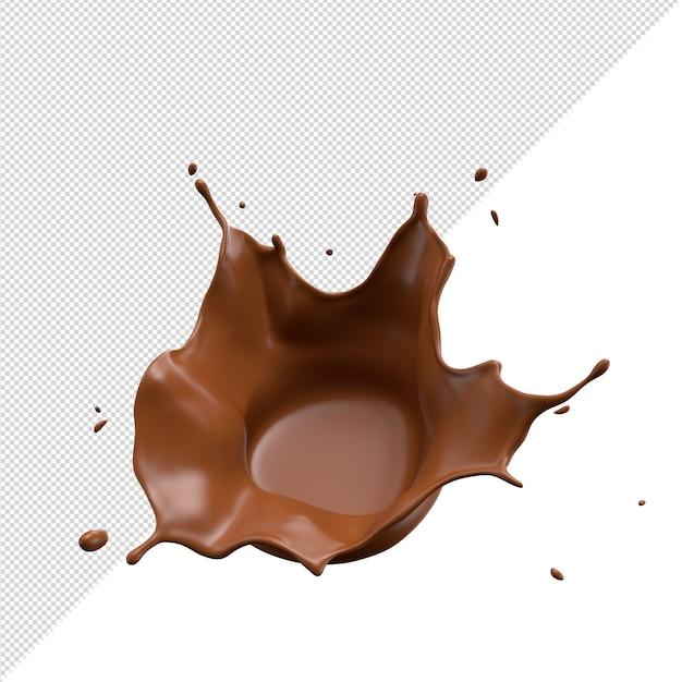 Шоколадное молоко всплеск 3d реалистично Premium Psd