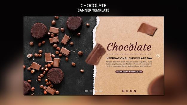 Шаблон баннера шоколадного магазина Бесплатные Psd