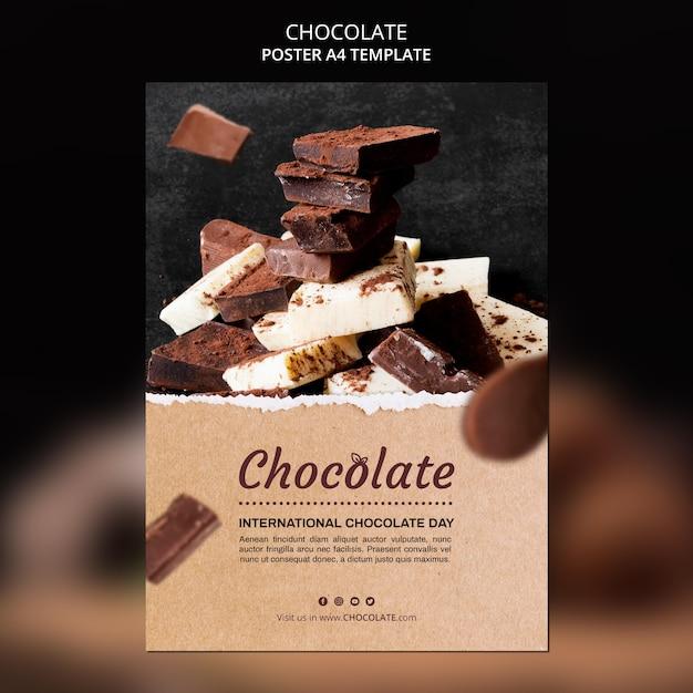 Шаблон плаката шоколадного магазина Бесплатные Psd
