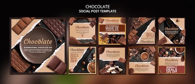 Modello di post sui social media del negozio di cioccolato Psd Gratuite