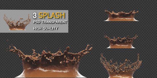 Шоколадный всплеск с каплями 3d рендеринга Premium Psd