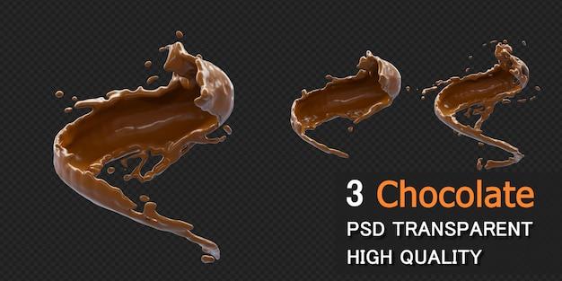 分離された3dレンダリングの液滴とチョコレートスプラッシュ Premium Psd