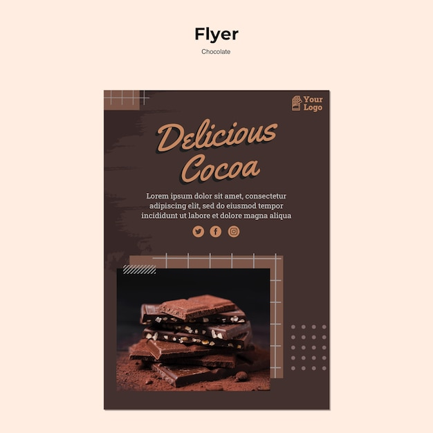 Шаблон флаера шоколадного магазина Бесплатные Psd